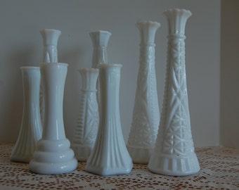 Vintage Milk Glass Bud Vases (8), Instant Vase Collection, Flower Vase, Shower Decor, Wedding Decor