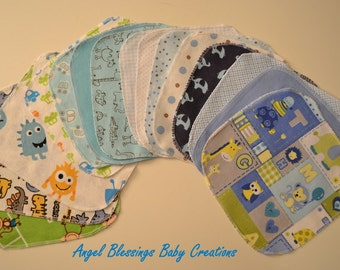 Baby Boy Reusable Wipes, Flannel Washcloths, 1 Ply Surged Baby Wipes, Unique Baby Shower Present, Reusable Baby Wipes