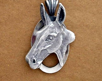 Mule Head Pendant - Handmade in 14k Gold or Sterling Silver