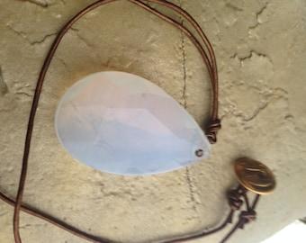Vintage chandelier glass necklace handmade