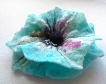 Wool felt jewelry, Pink Blue Turquoise White Black  Felt Flower Brooch, Hair clip Flower,Pin Flower,Unique, Felt Pins, Statement brooch
