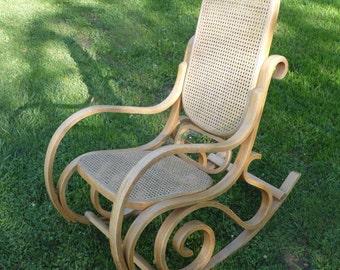 Bentwood Rocker/Bentwood Chair/Micheal Thonet Rocker/Nursery Chair/Rocking Chair/Wood Rocking Chair/Cane Chair/1970's/Furniture