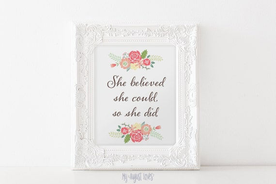 She Believed She Could So She Did Quote Art Girl Nursery