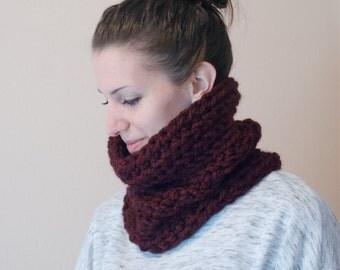 Wool Neck Warmer, Crochet Chunky Cowl, Men's Neckwarmer, Wool Cowl Scarf, Claret Burgundy