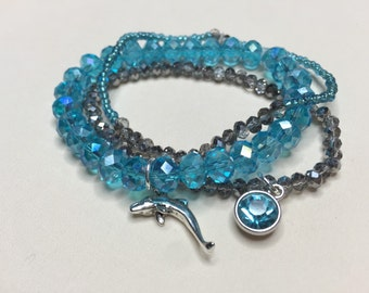 Delta Delta Delta Swarovski crystal beaded bracelet set sorority greek college dolphin