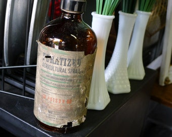 Brown fungicide glass bottle