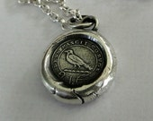 God Feeds the Ravens…. sterling silver Amulet, wax ether seal impression.