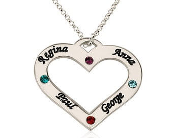 Birthstone Love Mother Necklace - Sterling Silver 925 - Engraved Heart - Birthstone - Mom Necklace with Names and Birthstones - Gift For Her