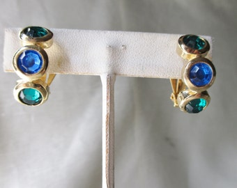 Blue and Green. Glass and Goldtone Metal Clip-On Earrings. American Unsigned Costume Jewelry. Valentine Gift, Sweetheart Gift, Collectible