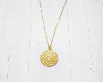 Minimal Hammered Circle Brass Lunar Necklace