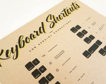 Keyboard Shortcuts for Special Characters - 8x10 Screenprint Black & Gold