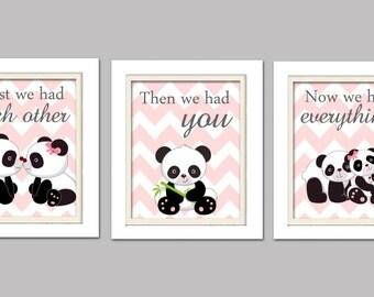Nursery Art Trio, Panda Nursery Prints, Pink and Grey Nursery, Panda Nursery, Set of 3 8x10, First we had each other