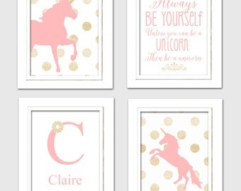 Pink and Gold Nursery, Unicorn nursery art, Always be yourself unless you can be a unicorn, Set of 4 8X10, Pink, Gold, Nursery Poem