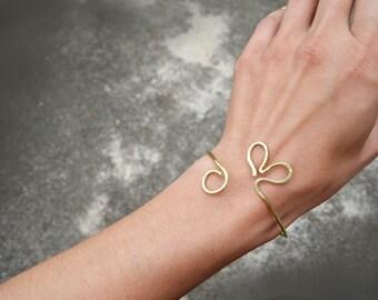 Open Heart Bracelet Arm Cuff Gold Upper Arm Bracelet Heart Jewelry Handmade Bangle