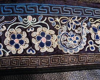 Antique Embroidered Panel Chinese 19th Century Dragon Robe Trim Forbidden Stitch