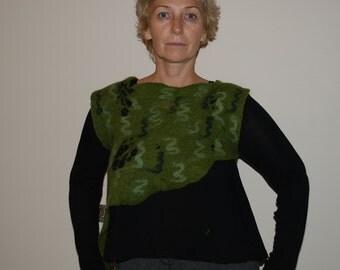 Felted Vest Woolen Vest Hippie Vest  Green top Women top vest