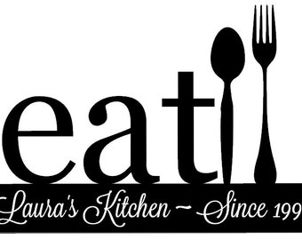 Personalized kitchen decal with name and established date