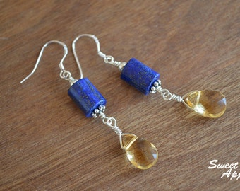 Lapis Cylinder With Citrine Drop Earrings