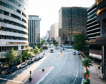 View of Wilson Boulevard and modern buildings in Rosslyn, Arlington, Virginia - Urban Photography Fine Art Print or Wrapped Canvas