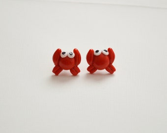 Red Crab Stud Earrings