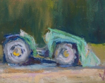 New Tractor - ACEO - 2 1/2 x 3 1/2 - Original Pastel