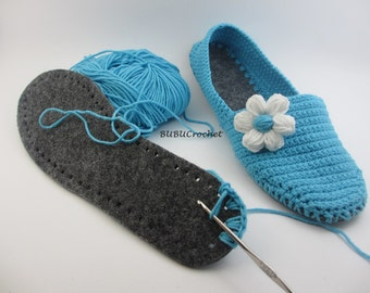 Felt Soles for Crocheted Shoes for Slippers made from Sheet Felt