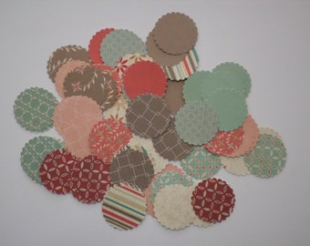 """72 Assorted 1 7/16"""" scalloped-edged scrapbook paper circles"""