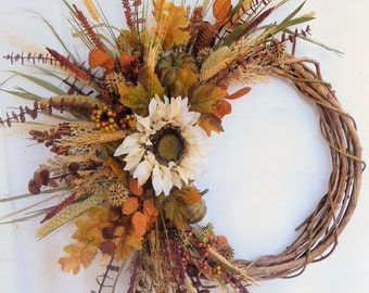 "Fall Wreath, Front Door Wreath ""Autumn Moon""Sunflower Wreath,Thanksgiving Wreath,Country Wreath,PumpkinWreath,Autumn Wreath"