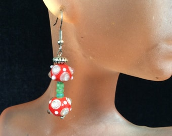 Vintage Red Green & White Spotted Glass Dangle Earrings