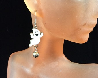 Vintage Halloween Enameled Ghost With Bell Dangle Earrings