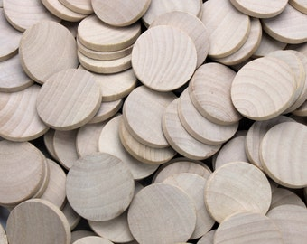 "50-100 Wood Discs, 1 1/2"" x 1/8"" Unfinished Wood Discs, DIY Wood Discs - CSO"