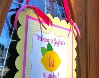 """Pink Lemonade Birthday inspired 11"""" Door Sign"""