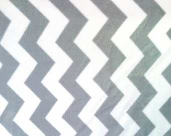 Chevron Gray and White Fleece Anti Pill Fleece Fabric, 60 Inches Wide and Sold By The Yard 2799