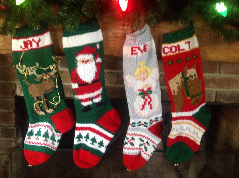 Easy Knitting Pattern For Christmas Stocking : Knitted Christmas Stocking Moose Waving Santa Angel Horse