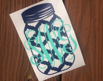 Monogram Mason Jar Car Decal, Lap Top Monogram Decal, Mason Jar Decal, Monogram Decal, Southern Decal, Mason Jar Monogram Decal