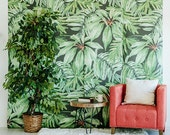 "Banana Leaf - Large Wall Mural, Watercolor Mural, Martinique Wallpaper, 100"" x 108"""