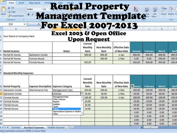 Property Management Spreadsheet Template Excel