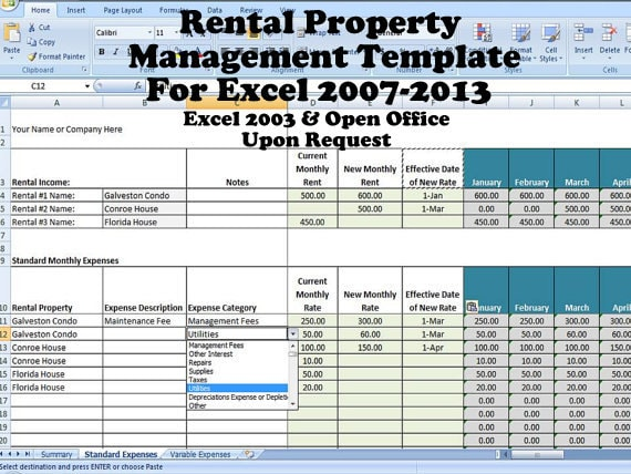 Rental property management template long term rentals rental for Rental property income statement template