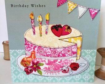 Birthday cake-Greeting Card- handfinished