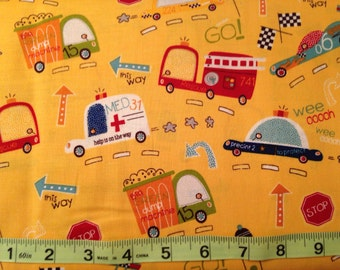 On Our Way Yellow Trucks, Ambulance, Fire Truck, Police Car, Dump Truck fabric by Riley Blake, fabric by the yard #15148