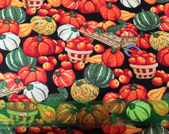 Autumn harvest fabric - thanksgiving fabric - apple fabric - pumpkin fabric - gourd fabric - basket fabric - fall fabric by the yard - #1564