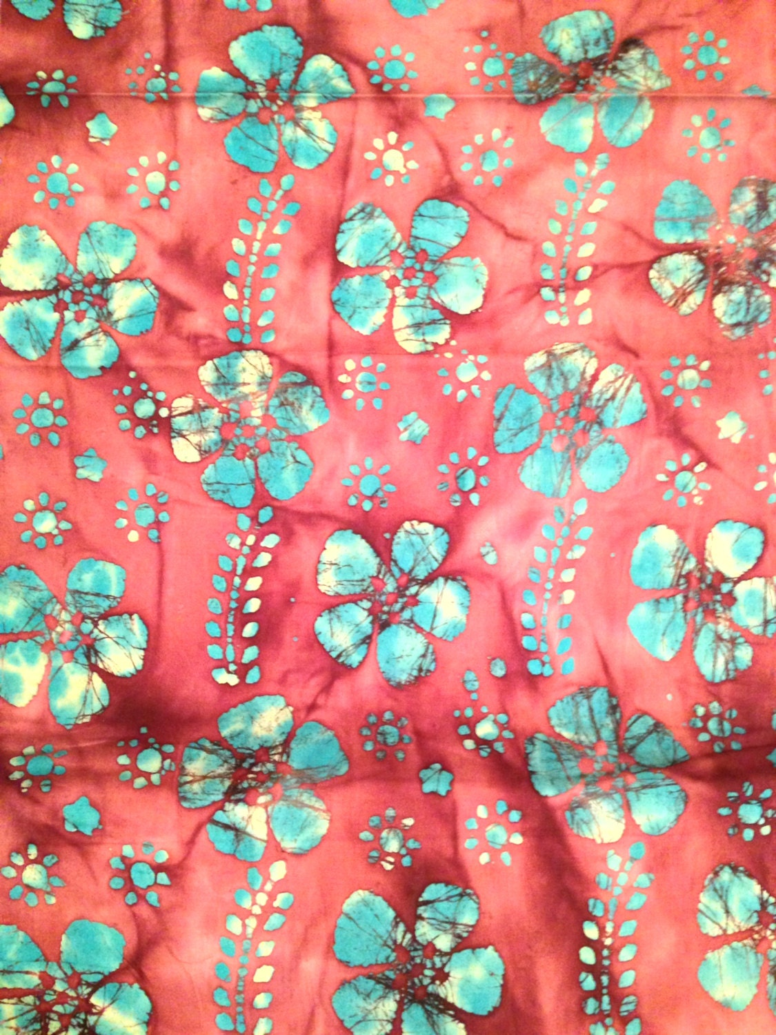 Coral and blue batik fabric by the yard by bluesheepboutique for Children s clothing fabric by the yard