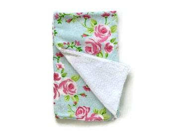 Blue Floral Burp Cloth / Baby Girl Burp Cloth / Baby Shower Gift / Burp Cloth / Burp Cloths / Girl Burp Cloth