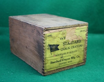 Vintage Wooden Finger Jointed Crayon / Chalk Manufacturing / Shipping Box