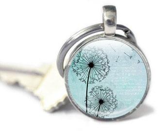 Dandelion Keyring, Key chain, Dandelion Keychain, Teal background, dandelions in the wind, Teal dandelion keyring, dandelion wish