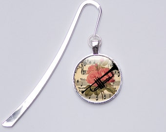 Music Bookmark - Music Gifts - Trumpet Picture Bookmark - Glass Photo Bookmark - gift for her (MB1)