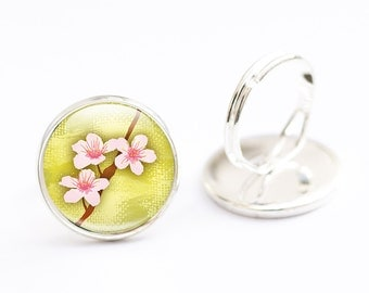 Cherry Blossom Jewelry,  Cherry Blossom Ring - Flower Glass Ring, Flower Jewelry (cherry blossom 1)