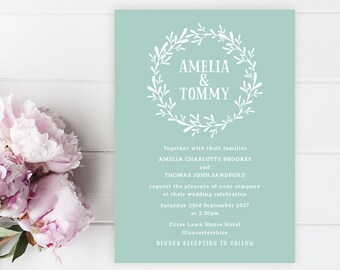 Amelia Printed Wedding Invitation Sample. Rustic, Shabby Chic, Sea Foam, Teal, Floral Wreath, Wedding Invitations