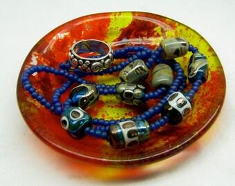 handmade fused glass ring dish candle holder ashtray incense burner coaster bowl red orange yellow unique caddy decorative soap dish jewelry