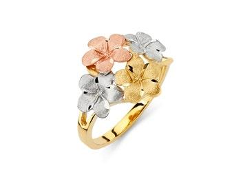 14K Tricolor Plumeria Ring, Plumeria Jewelry, Floral Ring, Floral Jewelry, Gold Ring, Gold Jewelry, Floral, Gold, Ring, Tricolor Ring